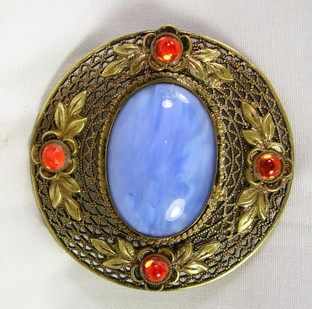 Vintage Brooch Blue Agate Glass with Faux Moonstone Cabochons in Gold Tone