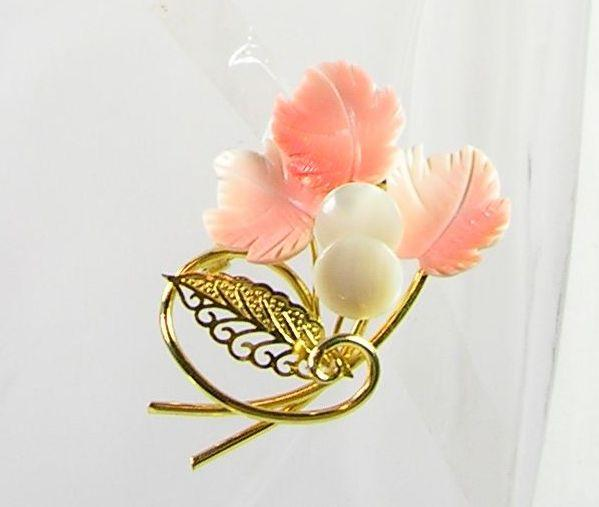 Collectible Bouquet of Faux Carved Coral and Mother of Pearl Brooch in Gold Tone