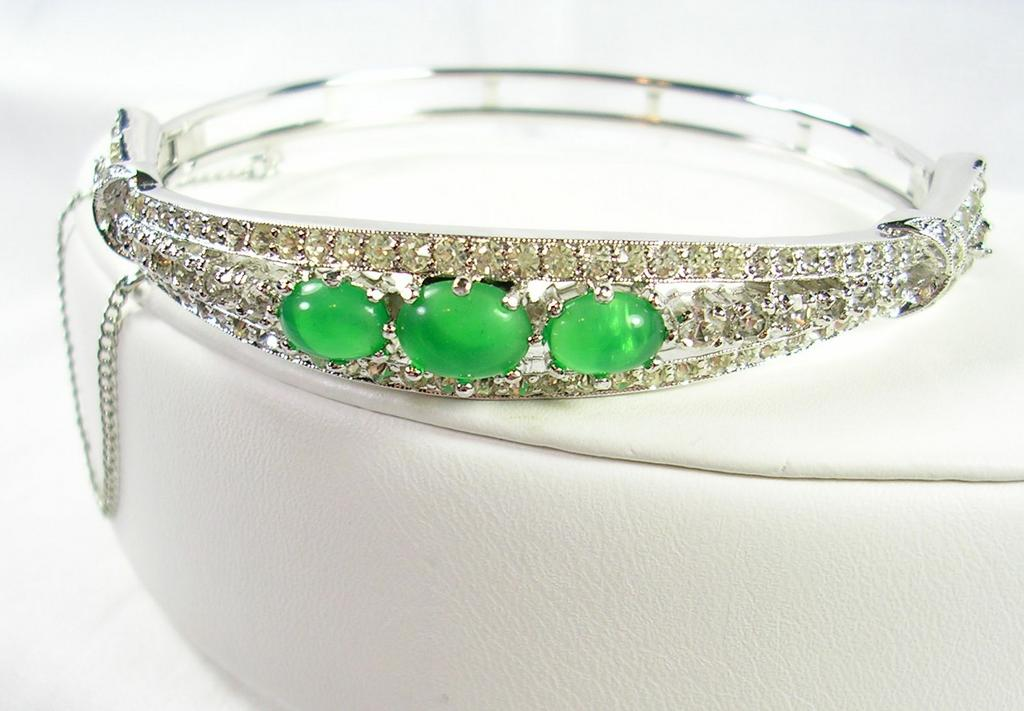 Signed Panetta Vintage Oval Bangle Bracelet with Faux Emerald Cabochons and Clear Rhinestones – Stunning!