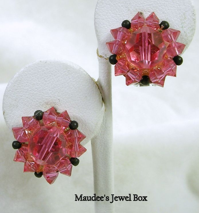 Signed Lisner Vintage Pink Faceted Crystal Bead Clip Earrings
