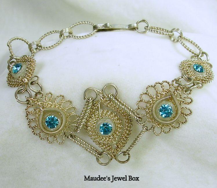 Vintage Blue Rhinestone Crystal Filigree Link Bracelet in Silver Tone – c. 1950s