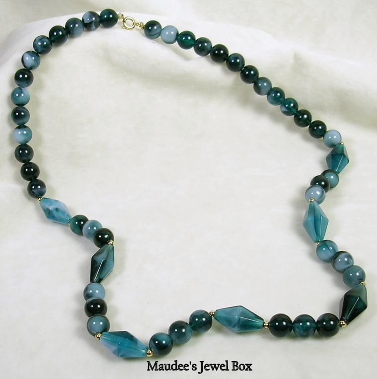 Vintage Colors of Teal Lucite Beaded Necklace