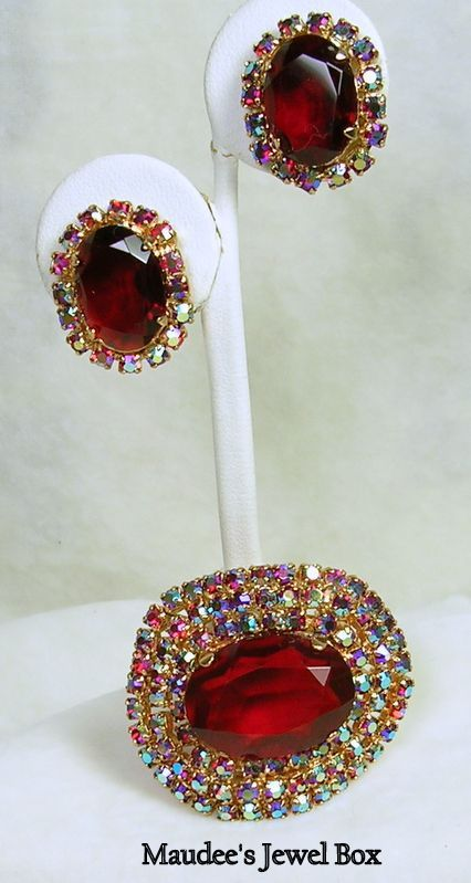 Vintage Faceted Ruby Red Glass and Aurora Borealis Brooch with Matching Clip Earrings
