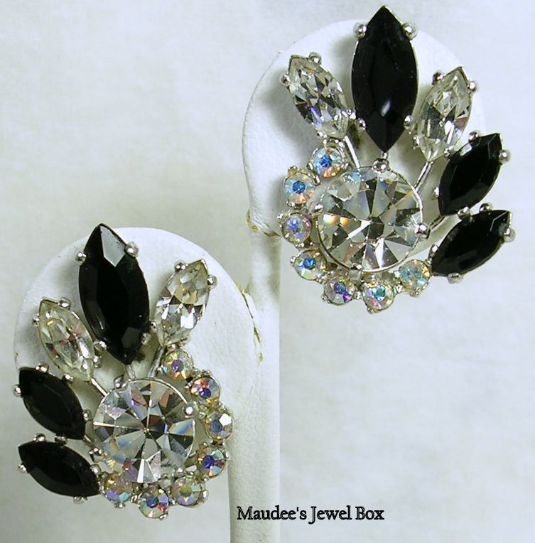 Signed Schiaparelli Vintage Cluster Earrings with Rivoli and Navette Crystal Rhinestones- Gorgeous!