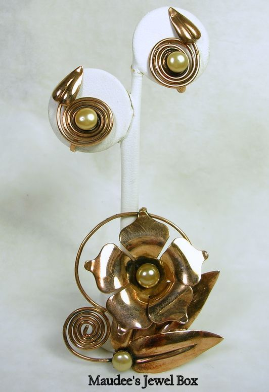 Vintage Copper and Simulated Pearls Floral Brooch with Matching Screw Back Earrings