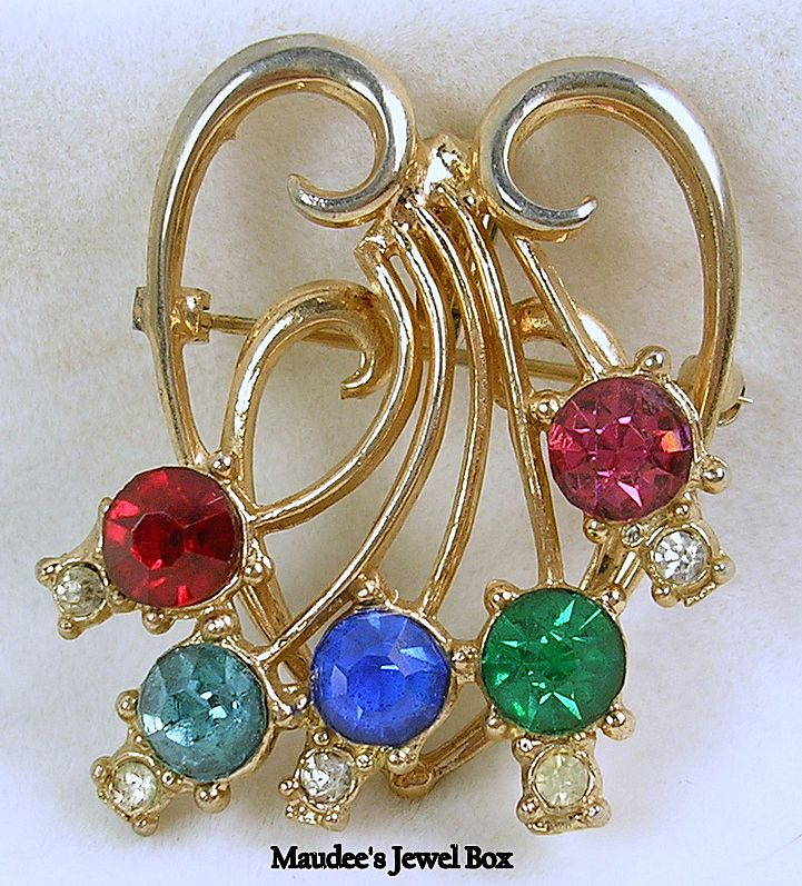 Vintage Heart Pin and Pendant with Gemstone Rhinestones