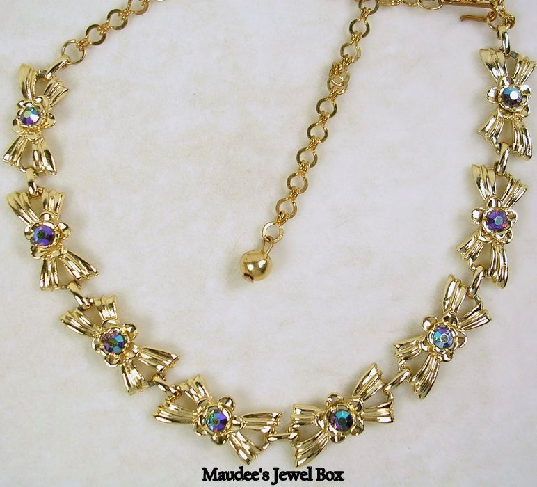 Vintage Bow Necklace with Aurora Borealis Crystal Rhinestones in Gold Tone