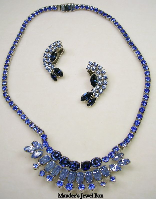 Glamorous Vintage Rhinestone Necklace and Earrings in Simulated Sapphire and Blue Topaz