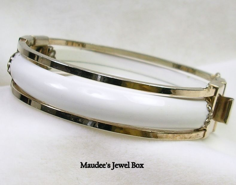 Vintage Gold Tone and White Enamel Bangle Bracelet