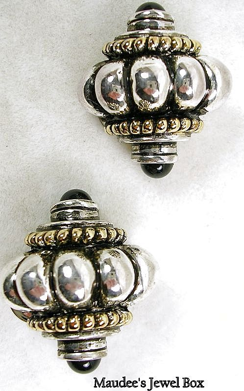 Vintage Dome Two Tone with Simulated Onyx Clip Earrings – Beautiful!