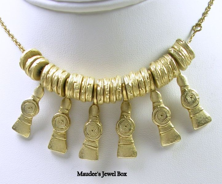 Vintage Greek Inspired Charm Bib Necklace