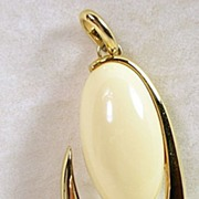 Vintage Modern Designed Ivory Cabochon and Gold Tone Pendant