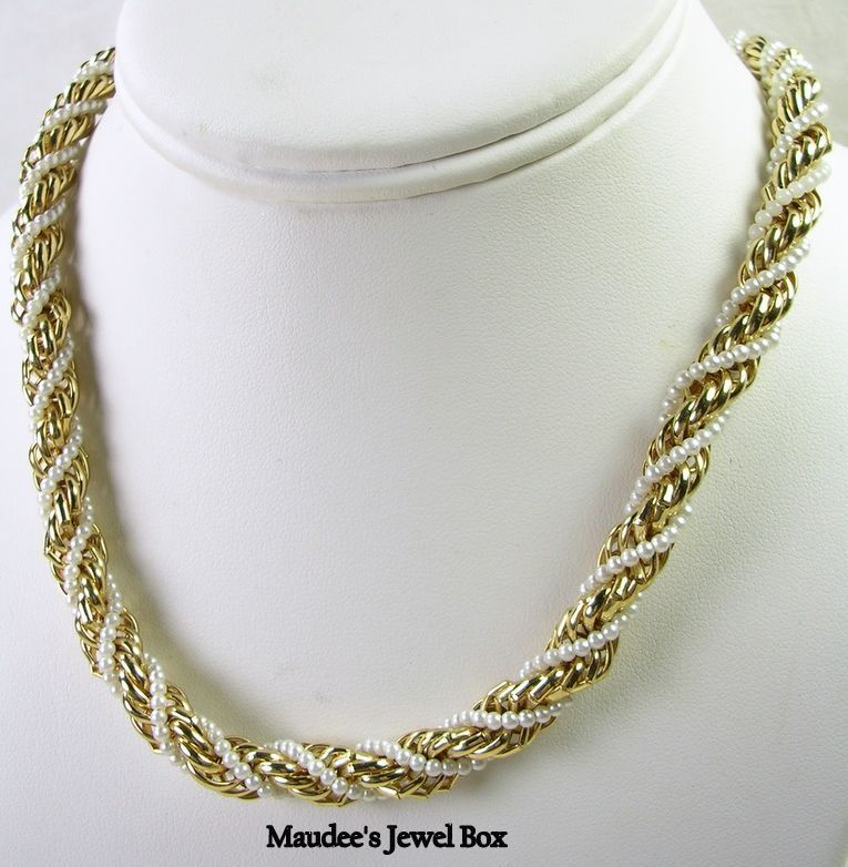 Vintage Twisted Rope and Simulated Pearl Necklace