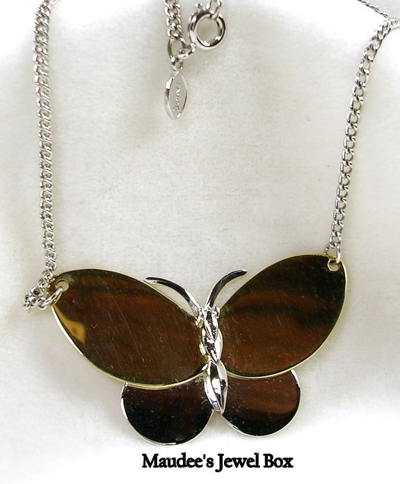 Signed Avon Two Tone Butterfly Necklace with Adjustable Chain