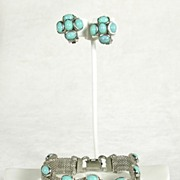 Vintage Mesh and Simulated  Turquoise Bracelet and Earring Set in Silver  Tone