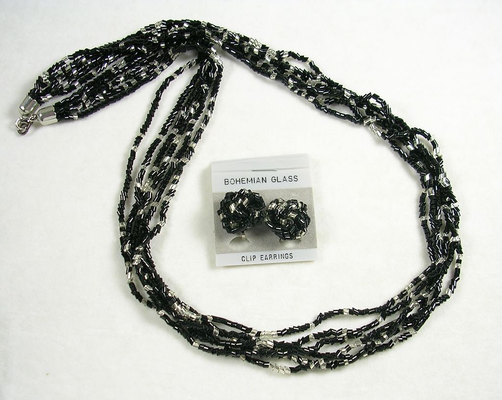 Vintage Bohemian Black and Silver Glass Beaded Necklace and Earrings