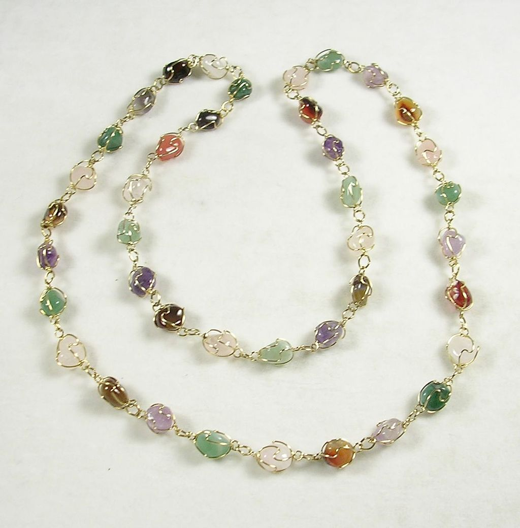 "36"" Necklace with Glass Gemstone Nuggets in Gold  Tone"