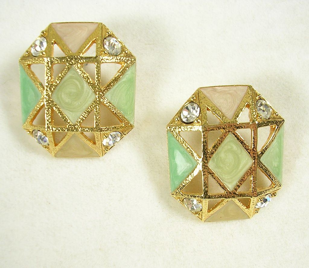 Signed Avon Geometrical Enamel Earrings with Crystal Rhinestones and a Textured Gold  Tone