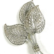 Vintage Large Filigree Leaf Brooch Pin in Silver  Tone