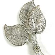 Vintage Large Filigree Leaf Brooch Pin in Silver  Tone