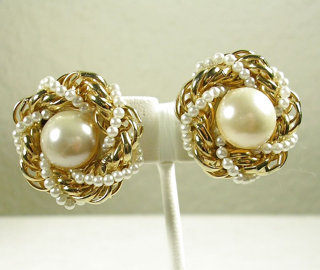 Vintage Simulated Pearls and Gold  Tone Button Clip Earrings