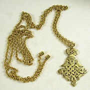 Vintage Asian Inspired Pendant Belt or Necklace with a Link Chain in Gold  Tone