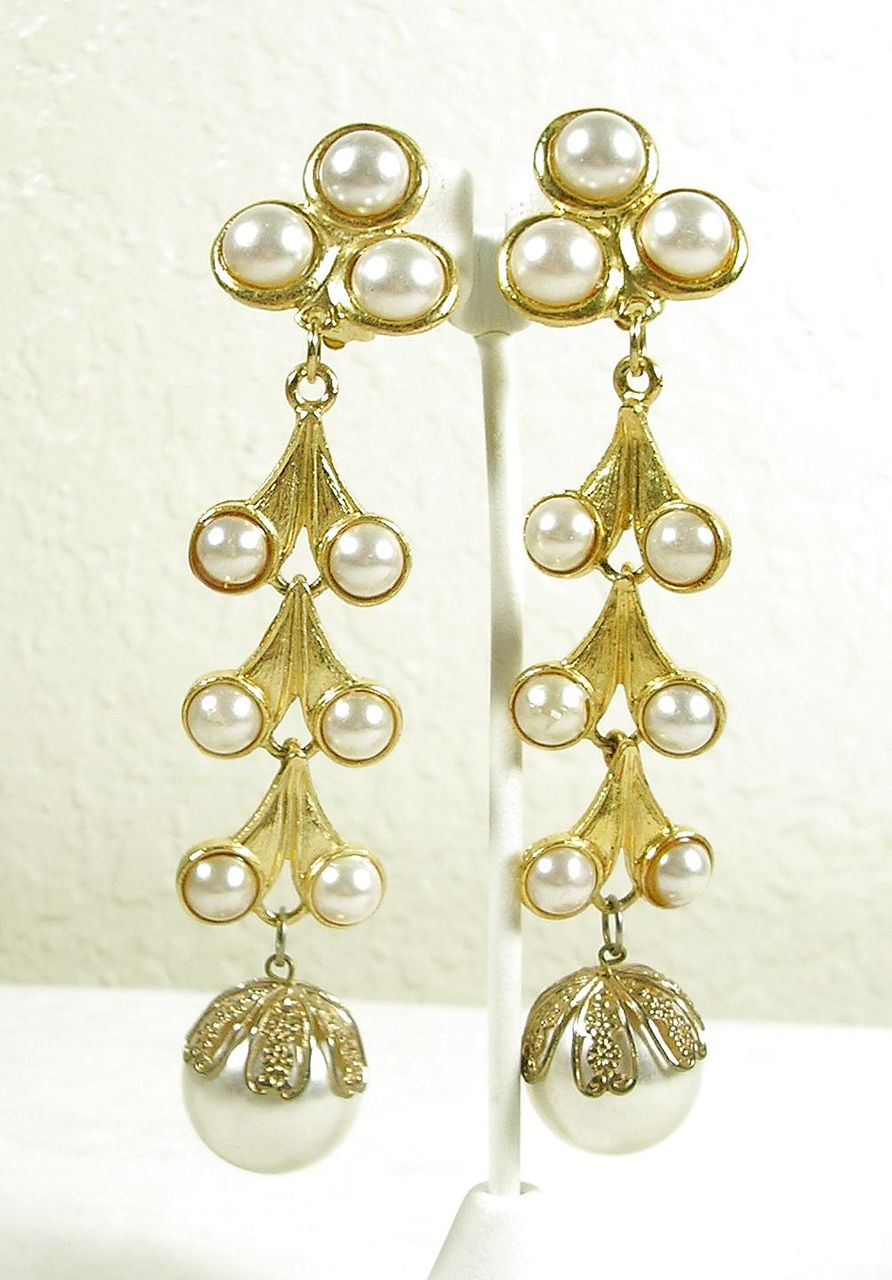 Vintage Chandelier Earrings in Gold  Tone with Simulated  Pearl Cabochons – Beautiful!