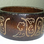 Vintage Wooden Bracelet in Dark Brown with Ornate Etching