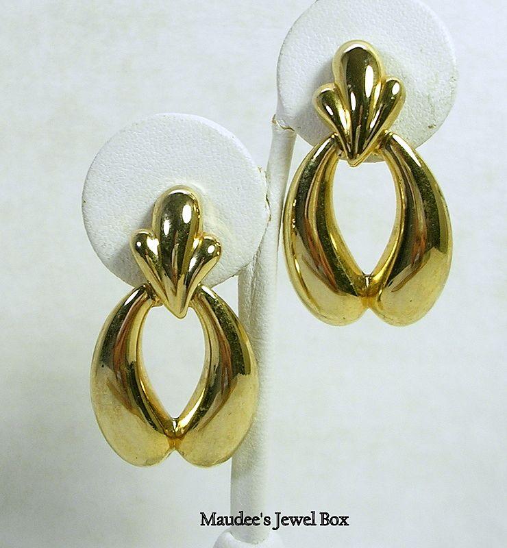 Vintage Gold Tone Door Knocker Hoop Pierced Earrings