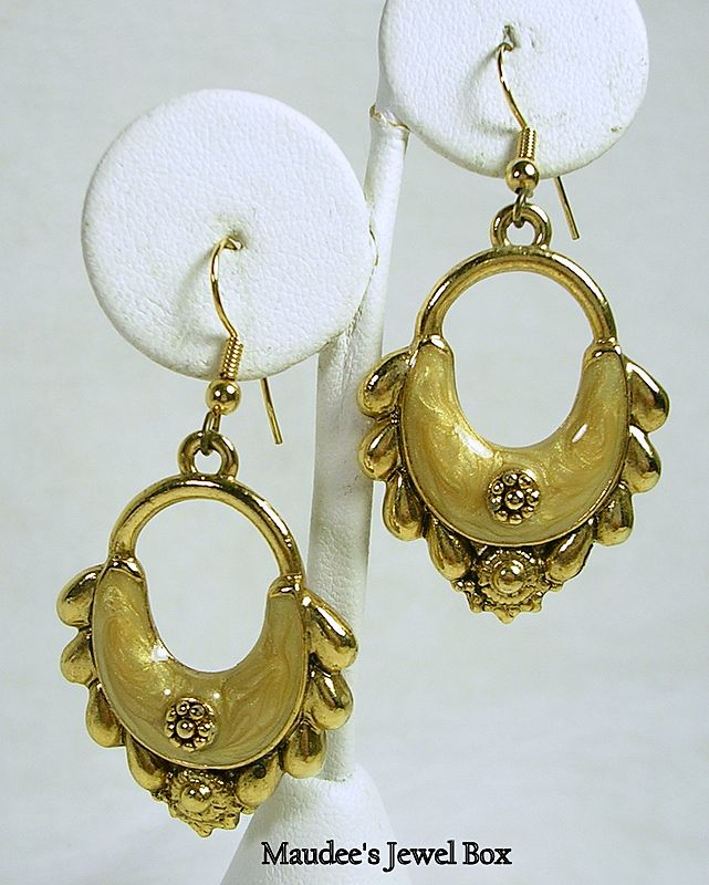 Vintage Gold Tone and Enamel Door Knocker Hoop Pierced Earrings