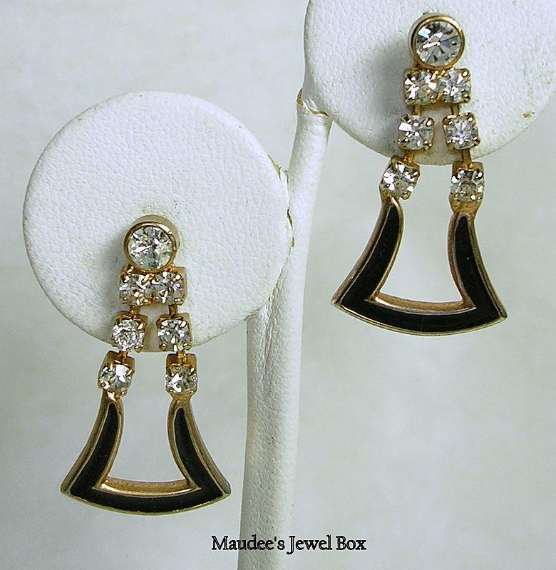 Vintage Gold Tone Black Enamel and Crystal Rhinestone Pierced Dangle Earrings