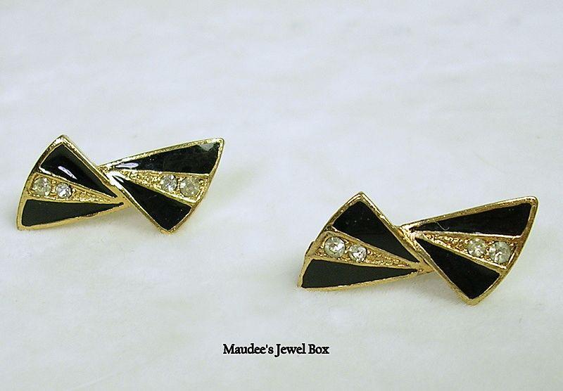 Vintage Gold Tone Black Enamel Crystal Rhinestone Bow Pierced Earrings