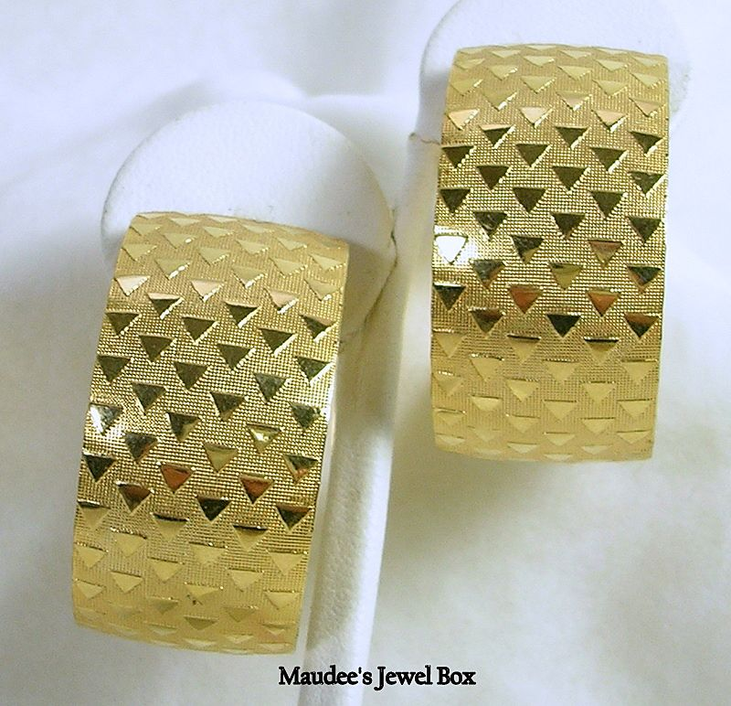 Vintage Gold Tone Textured Large Hoop Pierced Earrings
