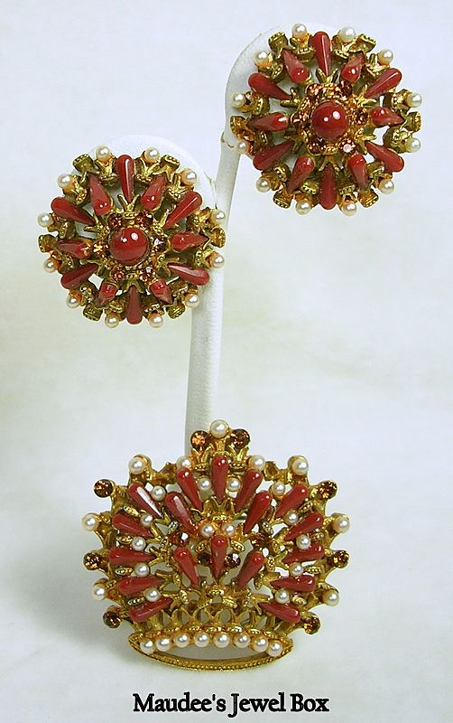Signed HAR Simulated Carnelian and Rhinestone Crown Brooch with Clip Earrings – Stunning!