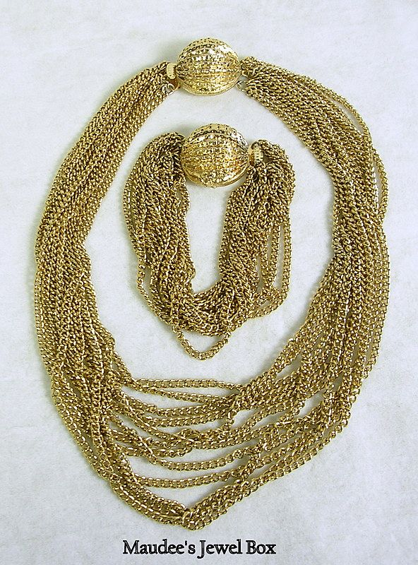 Vintage Multi Chain Necklace and Matching Bracelet with Ornate Clasps – Beautiful!