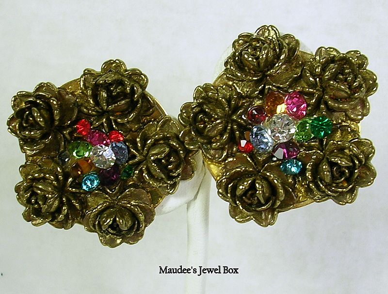 Vintage Antique Gold Tone Clip Earrings with Rhinestones and Roses – c.1980s