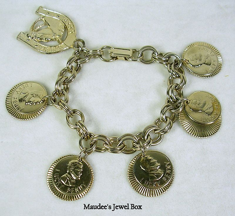 Vintage Lucky Penny and Horseshoe Charm Bracelet in Gold Tone – c.1960s