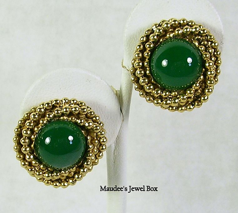 Vintage Jade Glass Gold Tone Omega Clip Earrings