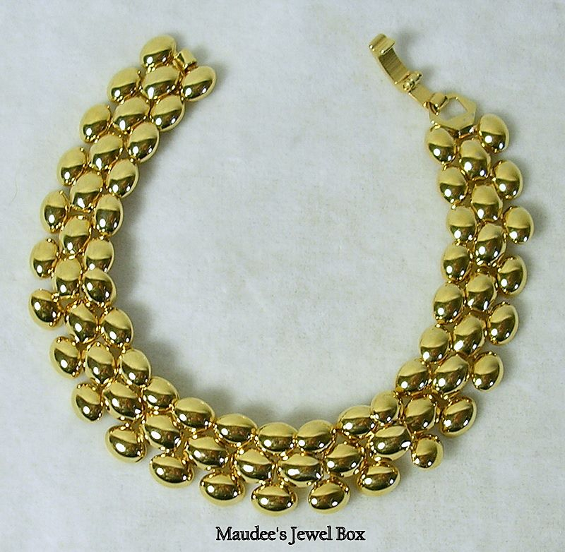 Vintage Panther Large Link Bracelet in Gold Tone