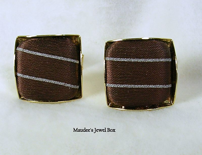 Vintage Chocolate Brown Silk Pinstripe and Gold Tone Cufflinks – c.1960s