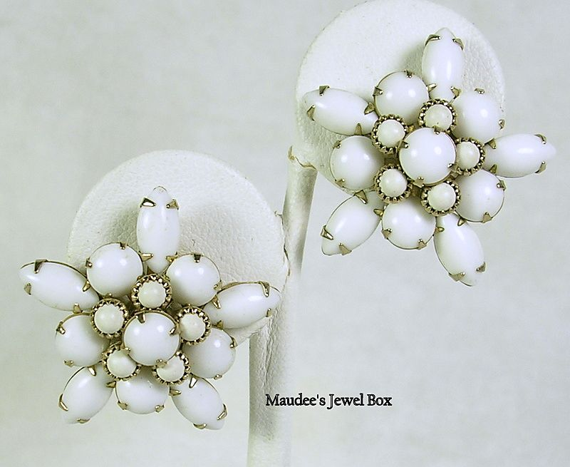 Vintage Milk Glass Round and Navette Star Design Clip Earrings – Stunning!
