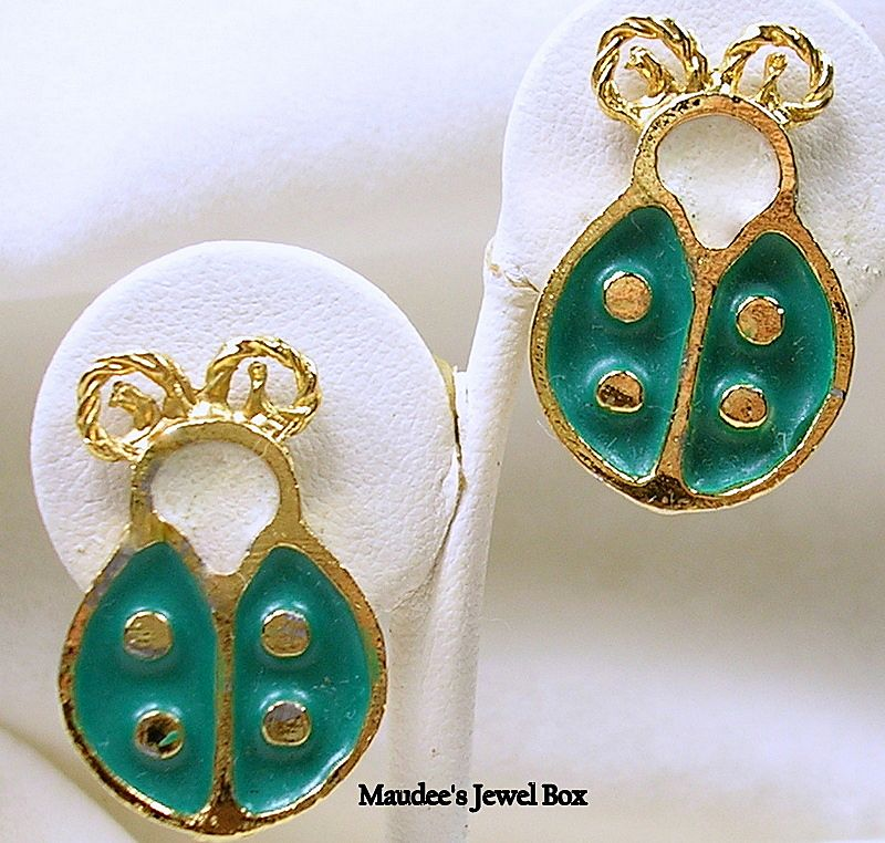 Vintage Green and Ivory Enamel Lady Bug Clip Earrings