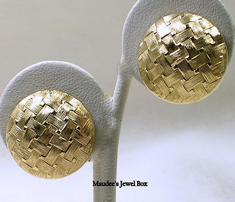 Signed Grosse Germany 1968 Woven Satin Textured Button Clip Earrings