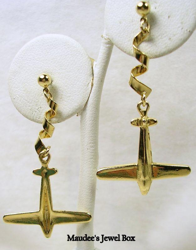 Dangle Gold Tone Airplane Jet Pierced Earrings
