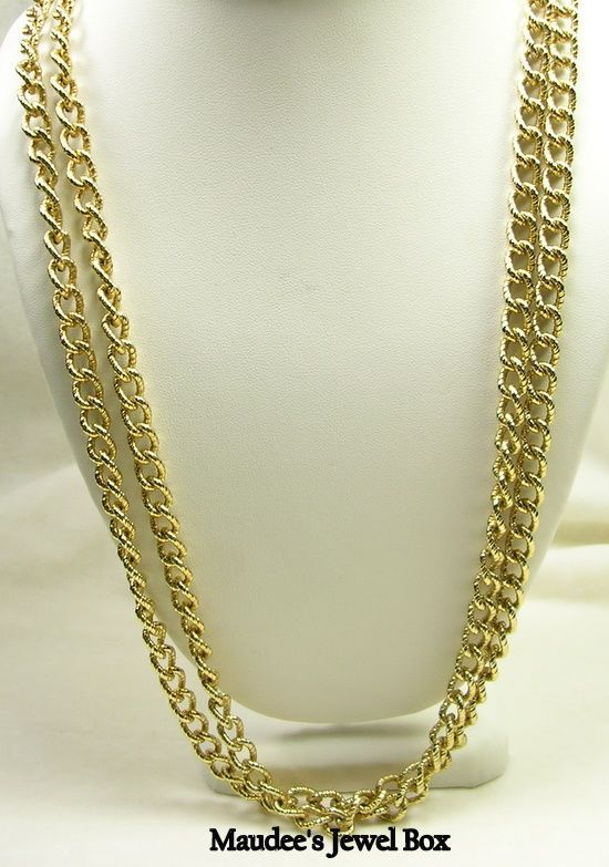 "Vintage 52"" Gold Tone Ornate Link Chain"