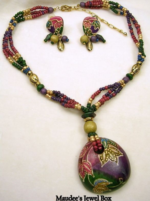 Vintage Wooden Beaded Cloisonné Necklace and Dangle Clip Earrings