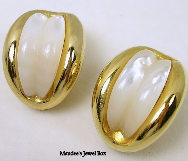 Vintage Simulated Mother of Pearl and Gold Tone Half Hoop Clip Earrings