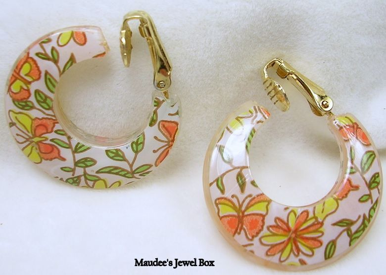 Vintage Acrylic Butterflies and Floral White Hoop Clip Earrings