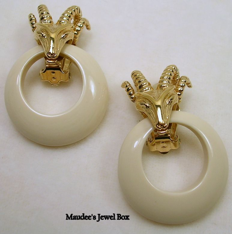 Signed Panetta Ram and Lucite Door Knocker Hoop Clip Earrings