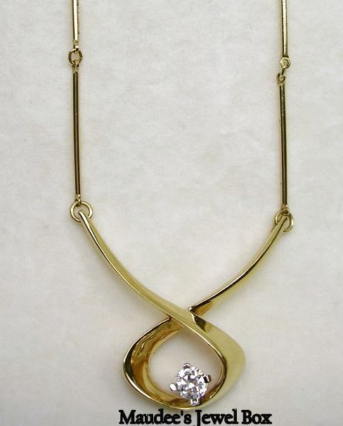Signed Panetta Gold Tone and CZ Solitaire Necklace